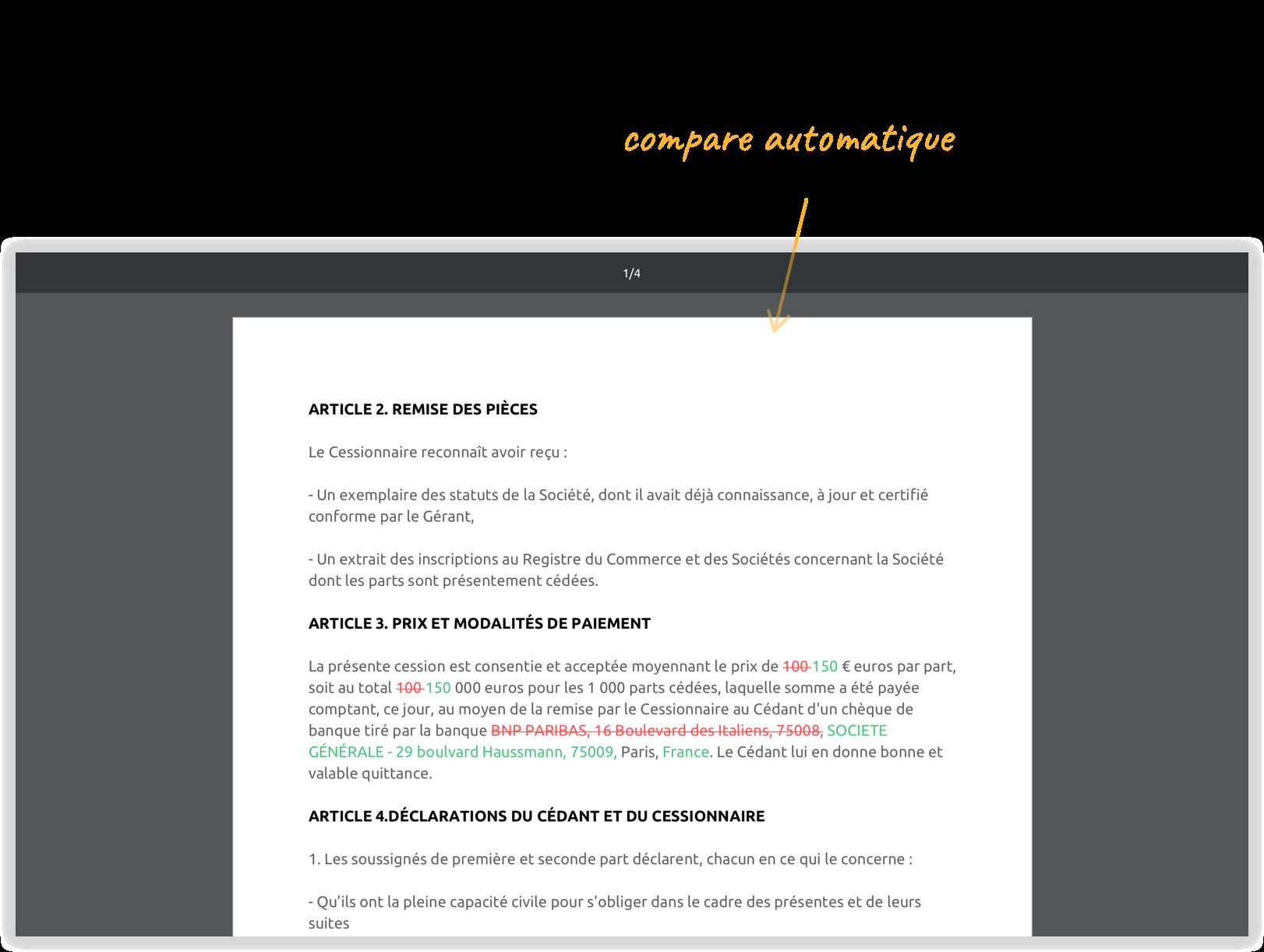 Capture d'écran - Articles 2, 3 et 4